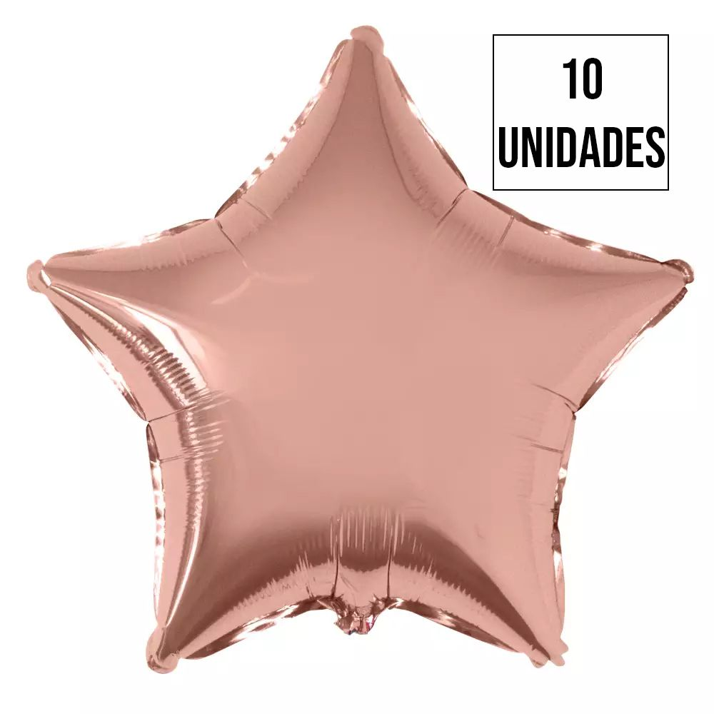 Kit 10 Balão Estrela Rose