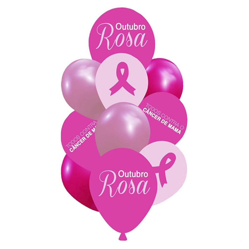 Kit Buquê Balões Outubro Rosa - 10 Unidades
