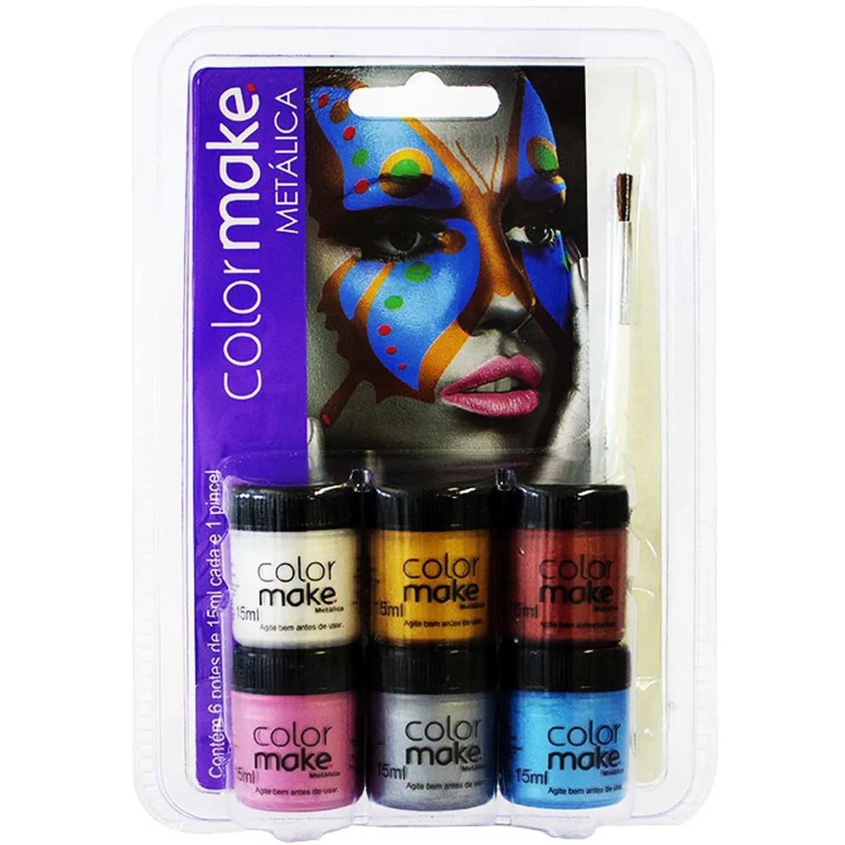Kit Tinta Facial Metálica Color Make 15 ml