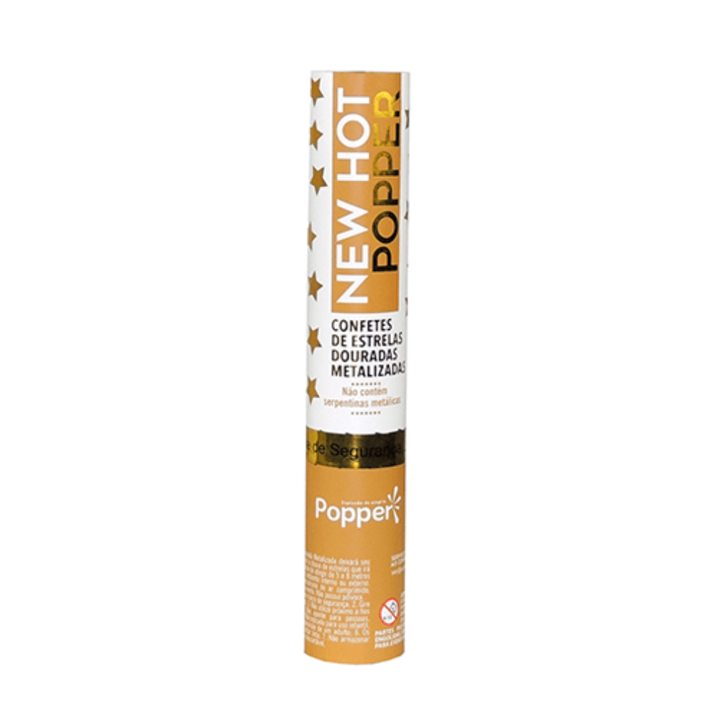 Lança Confete Chuva de Estrelas Douradas Metalizadas - 30cm