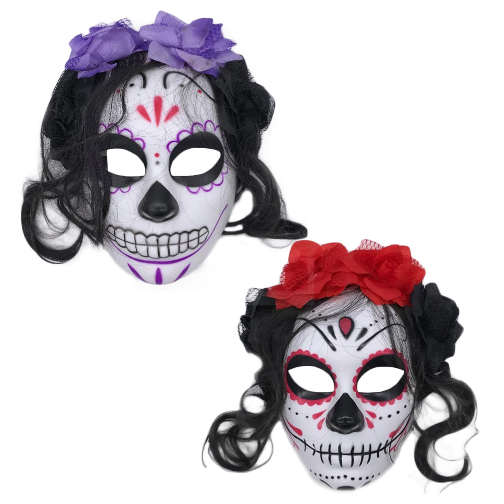 Máscara Caveira Mexicana com Cabelo