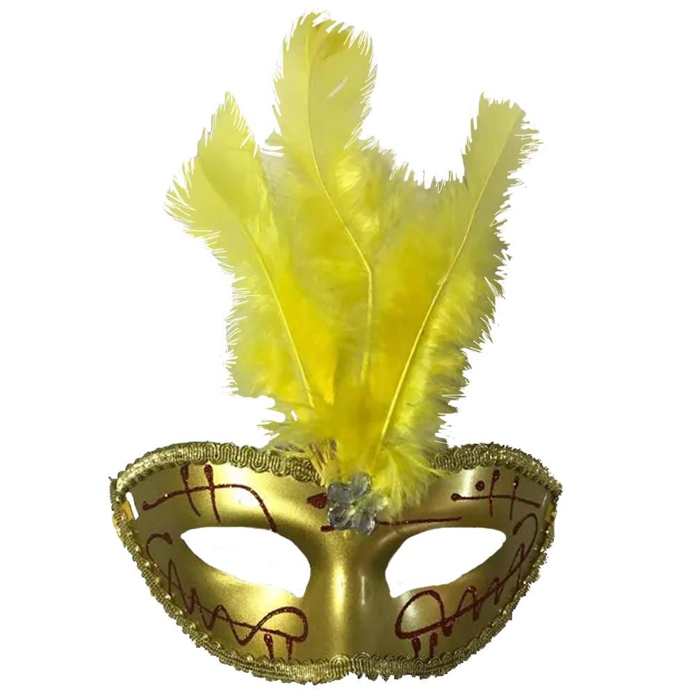 Máscara Veneziana Dourada - Pena Central