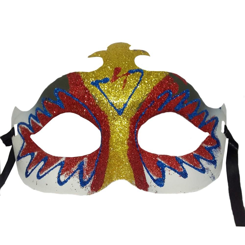 Máscara de Carnaval Glitter Branco
