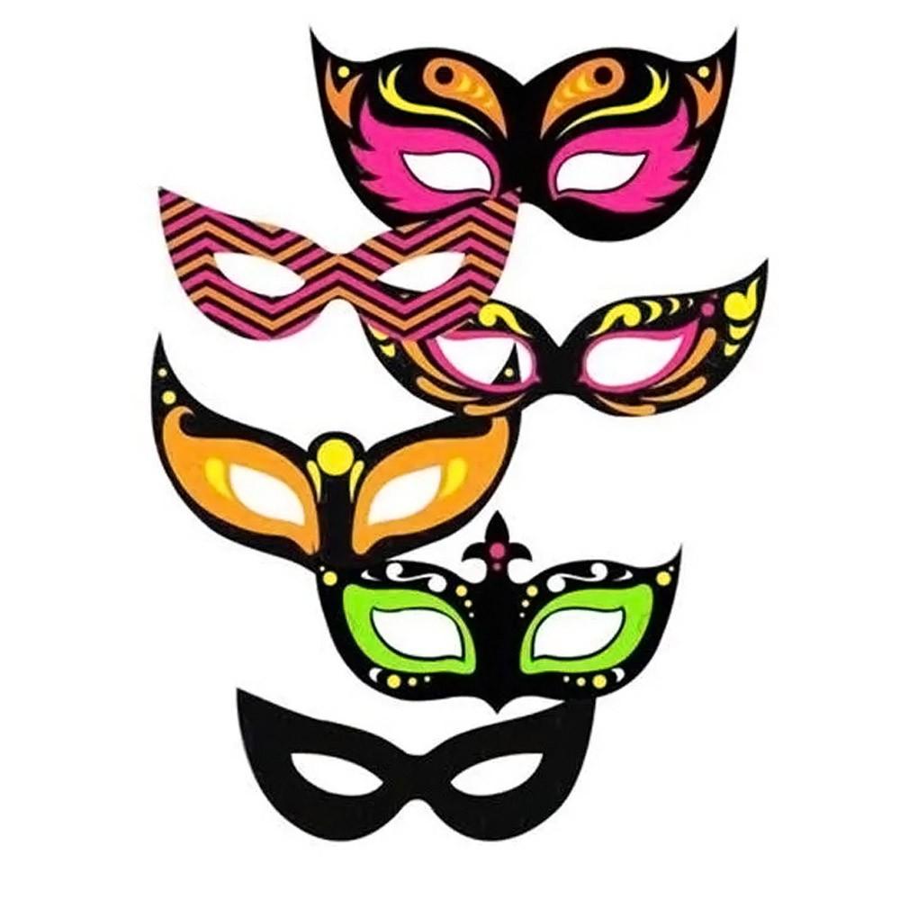 Máscara de Carnaval Neon Sortida - 6 Unidades