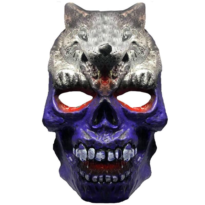 Máscara Caveira com Lobo Halloween
