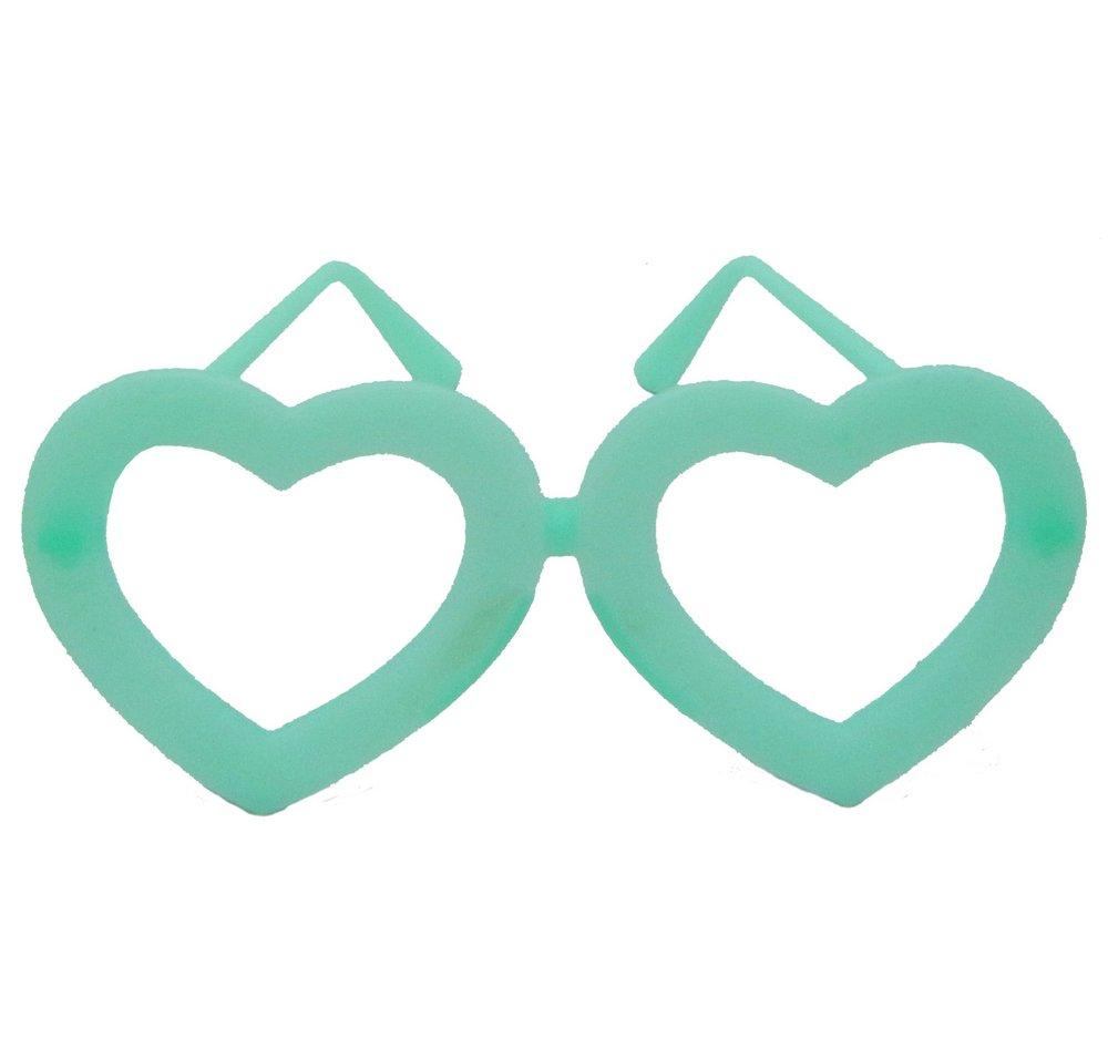 Óculos coração neon sem lente brilha no escuro