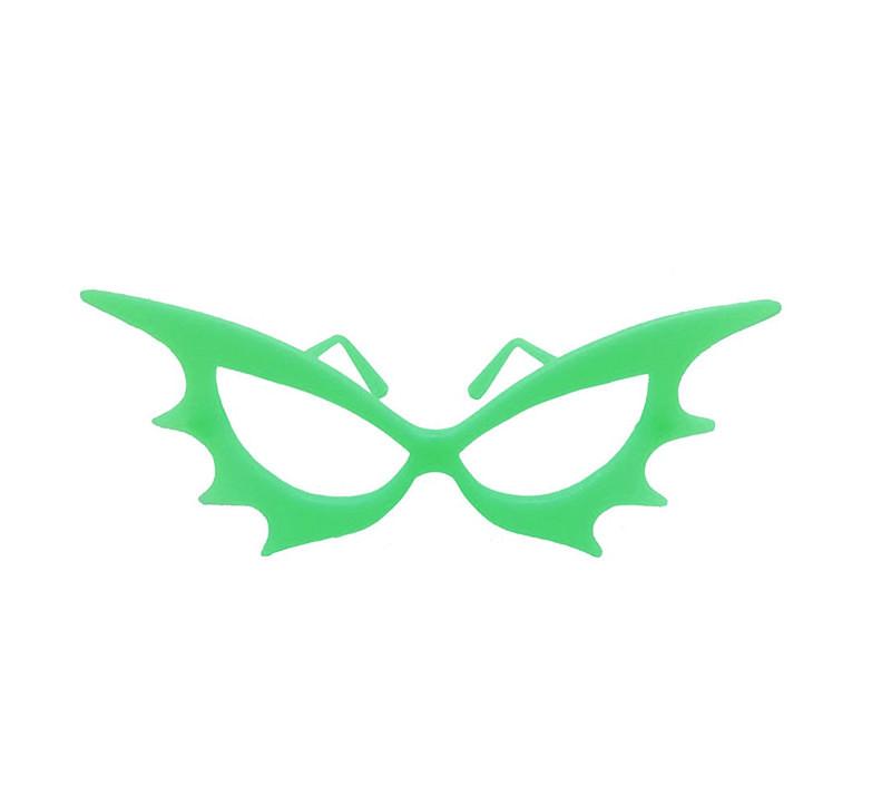 Óculos morcego neon sem lente brilha no escuro - 10 unidades