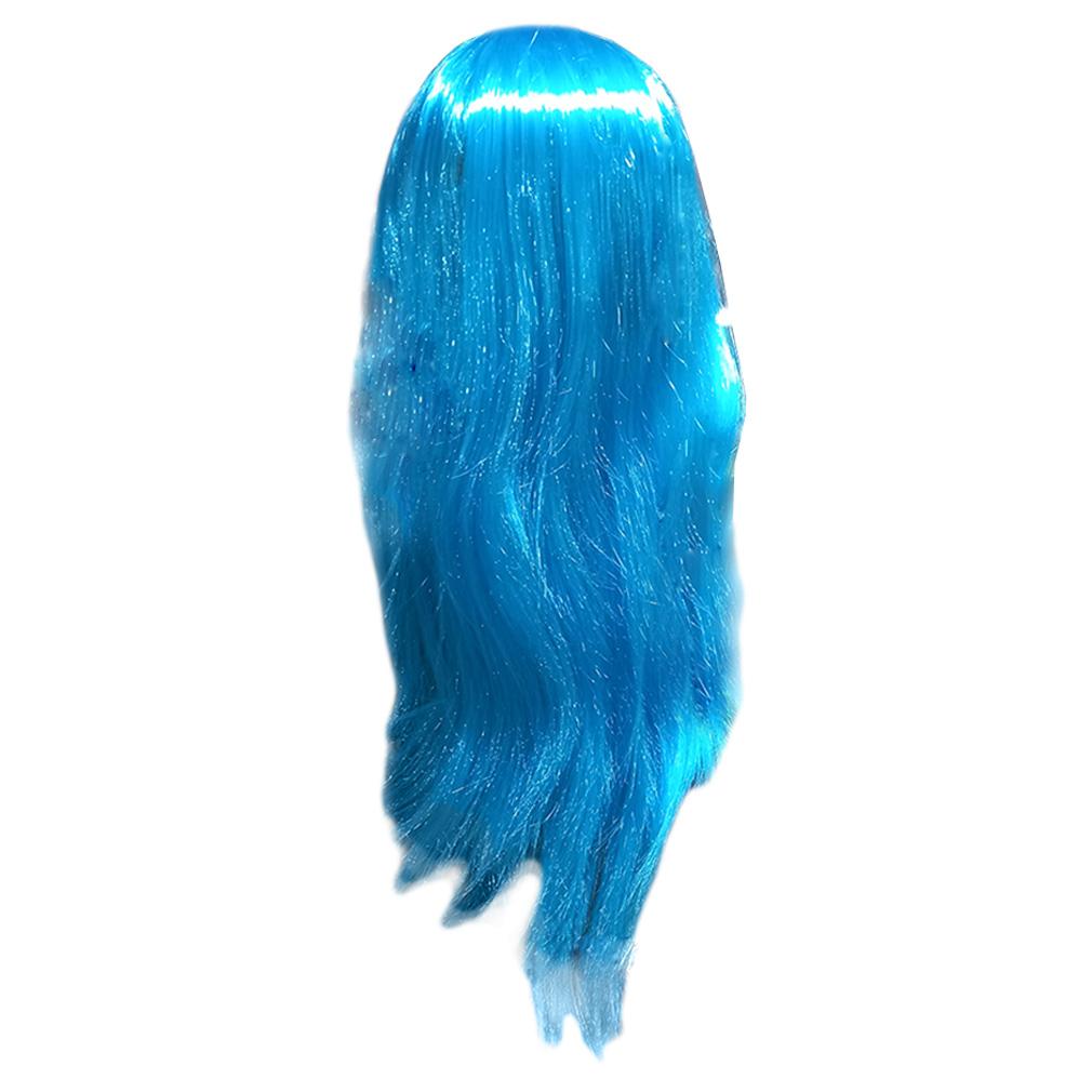 Peruca Longa Lisa - Azul Claro