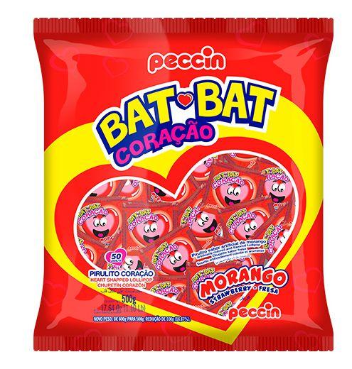 Pirulito Bat Bat Coração Morango