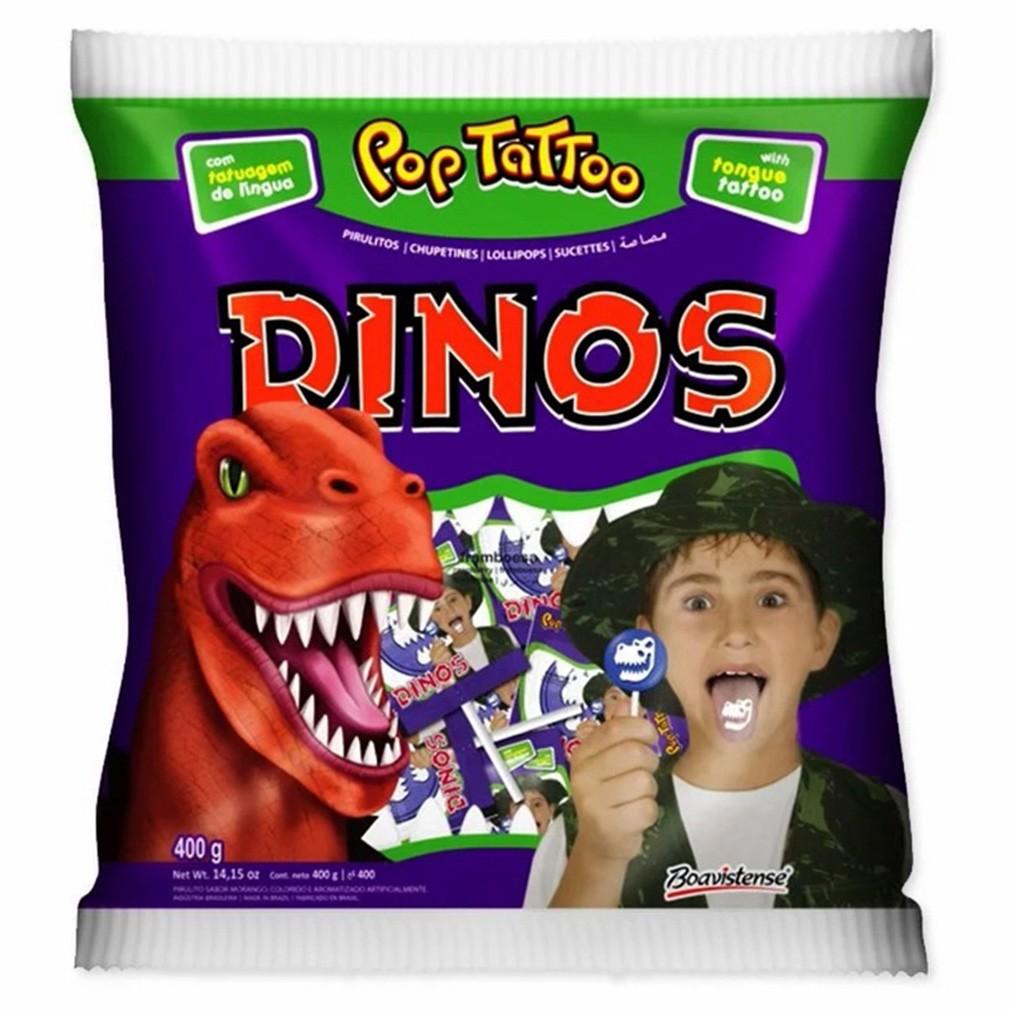 Pirulito Framboesa Dinos - 400g