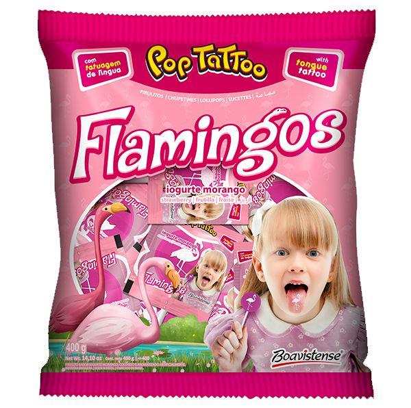 Pirulito Yogurte Morango Flamingos - 400g