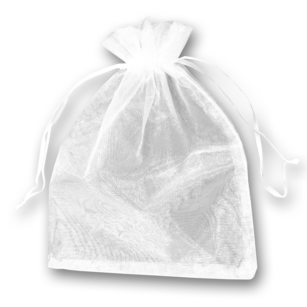 Saquinho de Organza Branco - 9cm x 12cm
