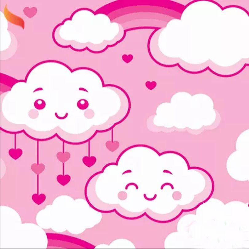 Tnt Estampado Chuva de Amor Rosa - 5 Metros
