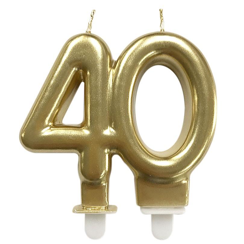 Vela de Aniversário Dourada 40 Anos