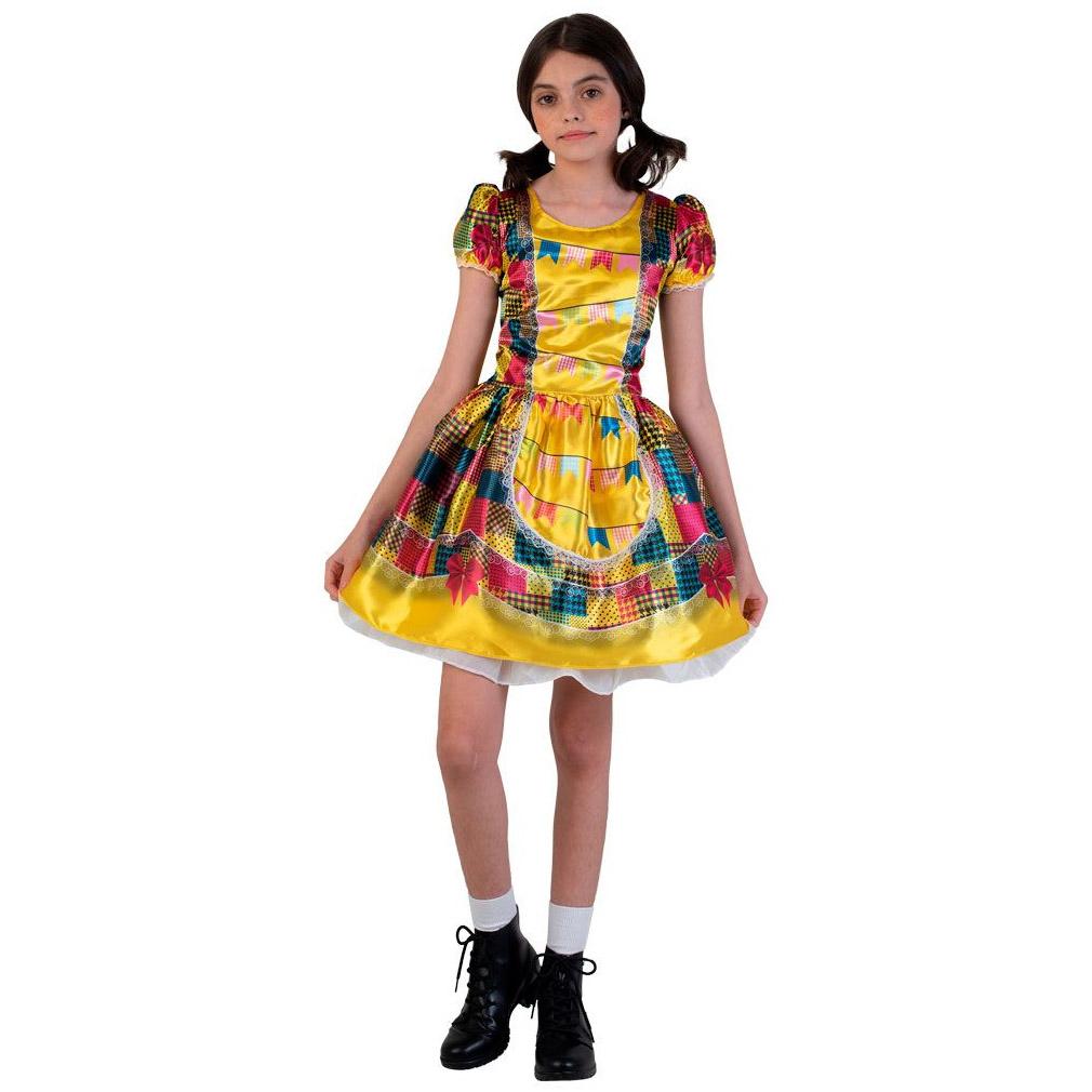 Vestido de Festa Junina Amarelo Arraiá - Infantil
