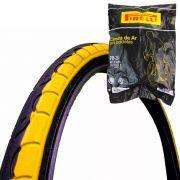 Pneu Bicicleta 26X1.25 Kenda K193 Preto com Faixa Amarelo + Câmara Bico Grosso Pirelli 26PB