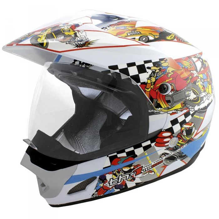 Capacete TH1 Vision Cartoon Race Branco