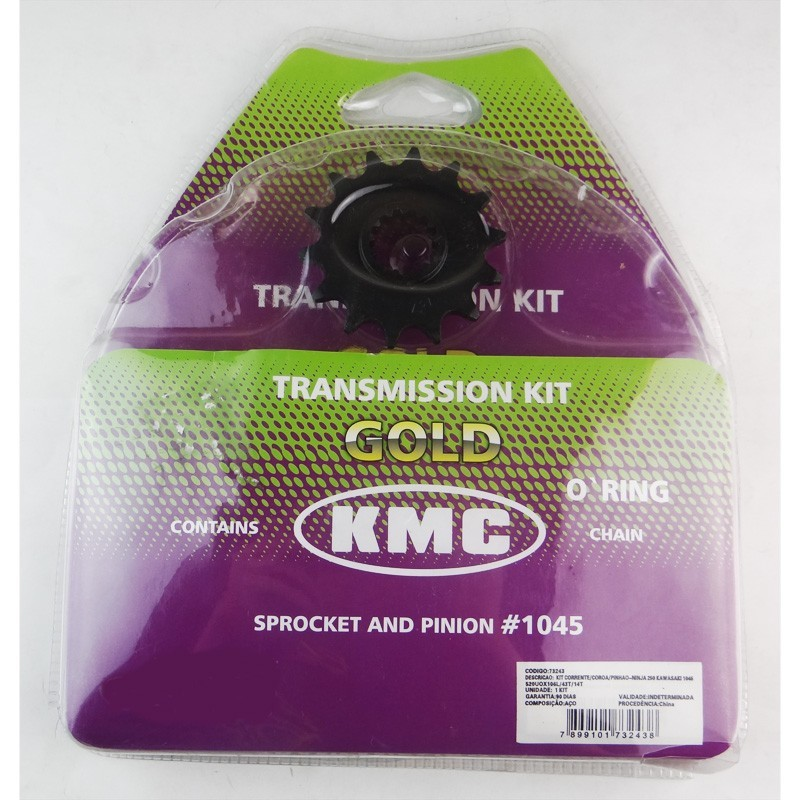 Kit Relação Kawasaki Ninja 250 / 300 43X14 - 520UO106 com Retentor (KMC GOLD)