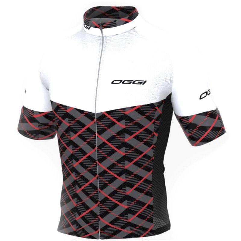 9a2e77aa7c Camisa Ciclismo OGGI Masculina Elite Agile Branco Preto Vermelho