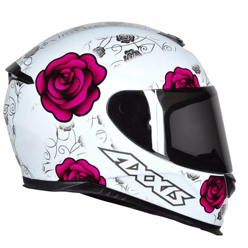 Capacete AXXIS Eagle Flowers Branco e Rosa - FM Motos 47890a34732