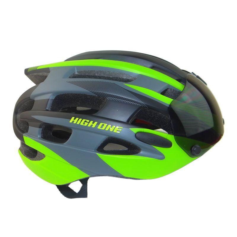 Capacete Ciclismo HIGH ONE Casco com óculos e Pisca PRETO/VERDE Fosco