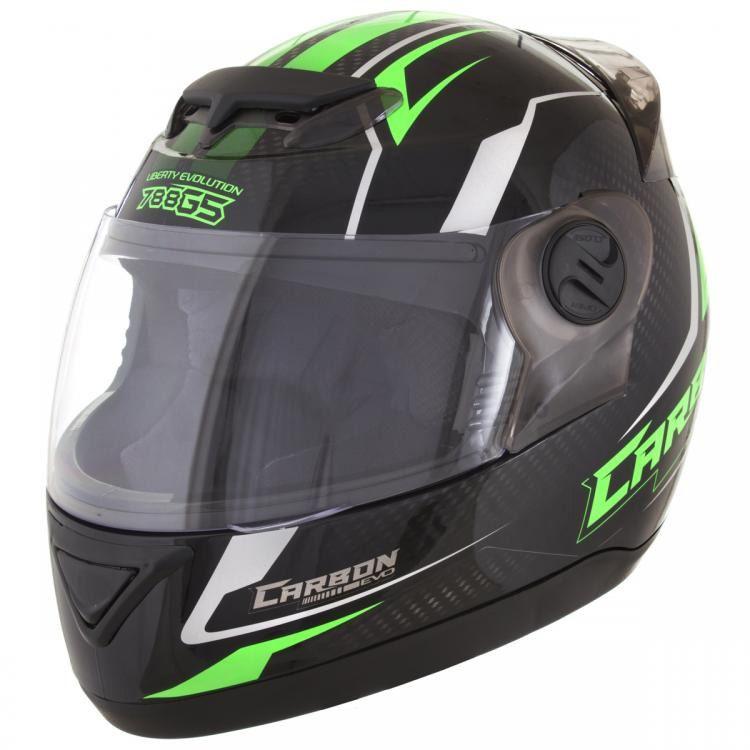 1aca792eb Capacete Pro Tork Evolution 788 G5 Carbon EVO preto e verde. Linha ...