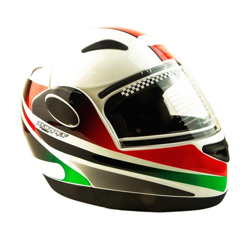 Capacete Zarref V4 Racer BRANCO/VERDE