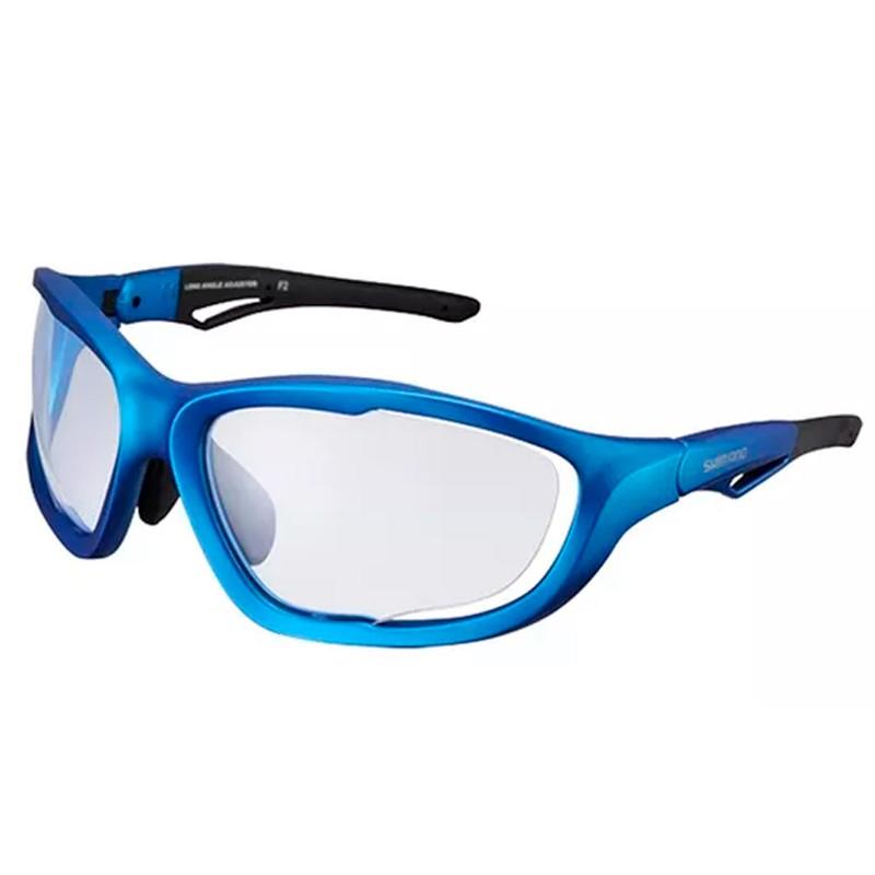 óculos Ciclismo Shimano S60X-PH AZUL Metalico Fosco Lente Transparente Photochromic