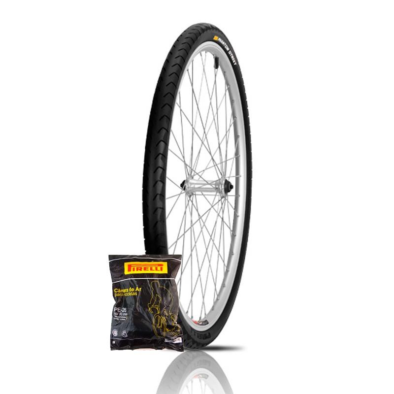 Pneu Bicicleta 26 X 1.95 Pirelli Phantom Street + Câmara Pirelli PE-26 Bico Grosso