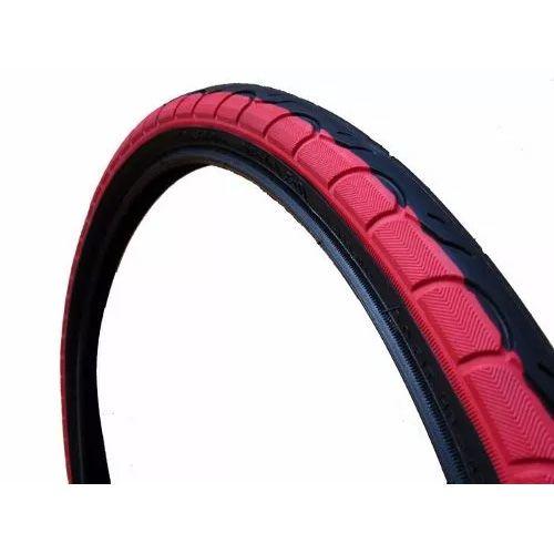 Pneu Bicicleta 26X1.25 Kenda K193 Preto com Faixa Vermelha + Câmara Pirelli Bico Grosso PB 26