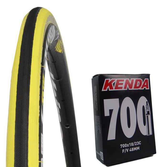 1e310ba24 Pneu Bicicleta 700 X 23 Kenda Koncept K191 Preto com Faixa Amarelo + Camara  Bico Fino ...