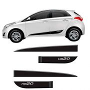 Friso Lateral Inferior Borrachão Hyundai Hb20 Hatch 2012 13 14 15 16 17 18 19 Preto Fosco