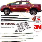 Kit Volcano Fiat Toro Pestanas Vidros + Maçaneta Cromada + Friso Lateral Cromado Top de Linha