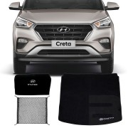 Kit Hyundai Creta 2017 18 19 Tapete Carpete Porta Malas com Bolsa Organizadora e Rede Porta Malas Elásticas