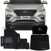 Kit Hyundai Creta 2017 18 19 Tapete Carpete e Tapete Porta Malas com Bolsa organizadora