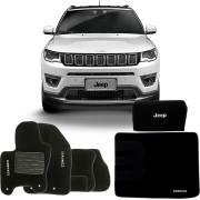 Kit Jeep Compass 2016 17 Tapete Carpete com Tapete Porta Malas e Bolsa Organizadora