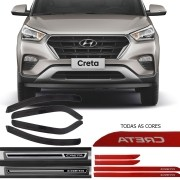 Kit Friso Lateral na Cor Original Calha de Chuva Esportiva e Soleira Resinada Premium Hyundai Creta 2017 18 19