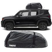 Bagageiro Maleiro de Teto Thule Jeep Renegade 2015 Até 2018 Ranger 90 Impermeável 280 Litros
