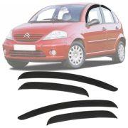 Calha de Chuva Esportiva Chevrolet Citroen C3 2003 Até 2012 Fumê Tg Poli
