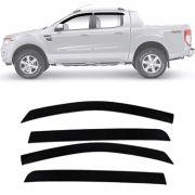 Calha de Chuva Esportiva Ford Ranger 2013 14 15 16 17 Cabine Dupla Fumê Tg Poli