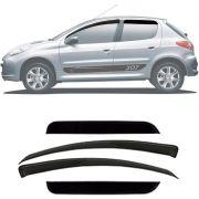 Calha de Chuva Esportiva Peugeot 206 / 207 2000 Até 2012 4 Portas Fumê Tg Poli