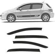 Calha de Chuva Esportiva Peugeot 307 Hatch / Sedan / SW 2001 até 2012 Fumê