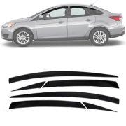 Calha de Chuva Esportiva Ford Focus Sedan 2014 15 16 17 4 Portas Com 6 Peças Fumê
