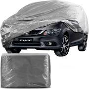 Capa Protetora para Cobrir Carro 100% Impermeável com Forro Central e Elástico Tamanho G Cinza Honda Civic