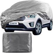 Capa Protetora para Cobrir Carro 100% Impermeável com Forro Central e Elástico Tamanho GG Cinza Hyundai Creta