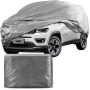 Capa Protetora para Cobrir Carro 100% Impermeável com Forro Central e Elástico Tamanho GG Cinza Jeep Compass
