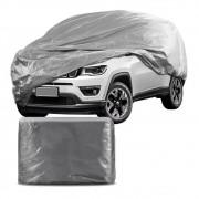 Capa Protetora para Cobrir Carro 100% Impermeável com Forro Central e Elástico Tamanho XGG Cinza