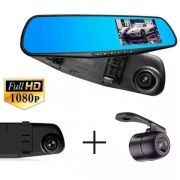 Espelho Retrovisor Tela 4,3 Full Hd Camera Re Camera Frontal