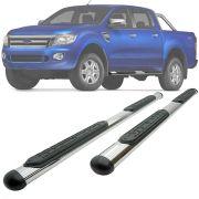 Estribo Lateral Oblongo Bepo Ford Ranger 2013 14 15 16 17 18 19 Cabine Dupla Cromado Preto / Onix / Cromado