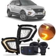 Farol de Milha Auxiliar Moldura DRL Hyundai Creta 2020 Em Diante Daylight Luz Diurna Com Seta
